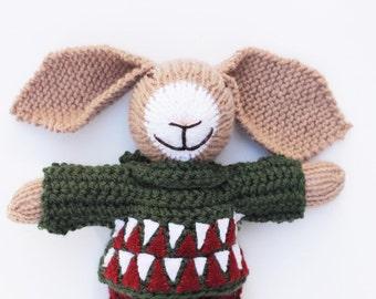 Stuffed bunny rabbit, knitted toys, crochet bunny toy, Christmas toys, soft toys, Christmas bunny, stocking stuffer, bunny stuffed animal