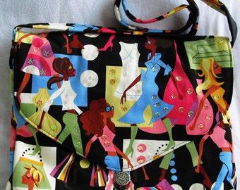 Cotton Lightweight Canvas Fashion Art Student Portfolio Bag Crossbody SpanglyBaggles Zip Pocket