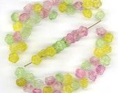Vintage Flower Beads 8mm Translucent Color Mix Button Back Shape 60 Pcs.
