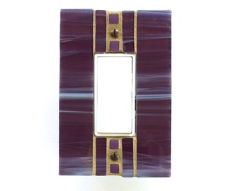 Decorative Decora Wall Plate, Purple Stained Glass, Single Switch Plate, GFI GFCI Outlet Cover, Rocker Switchplate, Rectangle Dimmer, 8260