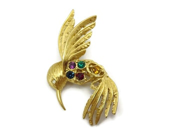 Rhinestone Hummingbird Brooch - Vintage Napier Costume Jewelry, Gold Bird