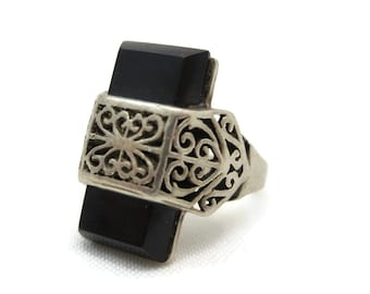 Sterling Onyx Ring - Silver Filigree Art Deco Ring, Statement Ring