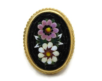 Vintage Micro Mosaic Ring - Pink and White Daisy Ring, Black, Adjustable