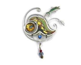 Dolphin Brooch - Artist, Studio Jewelry, Resin, Rhinestone, Beads, Metalwork, Costume Jewelry