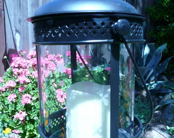 Yard Art - Lantern with etched stars and firefly