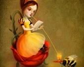 ON SALE Queen Bee print | love letter fairy  print honey bee art children's art children's illustration - by Lisa Falzon