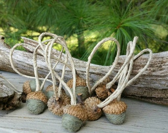 Wool Needle Felted Acorn Ornaments in Sage Set of 10 Home and Living