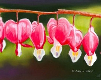 Flower Painting, Bleeding Hearts, My Bleeding Heart, Original Painting, Fine Art, Realism, Pastel