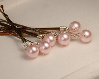 Pink Pearl Bobby Pins, Bridesmaid Hair Accessory, Pink Hair Pins, Swarovski Rosaline 8 mm Crystal Pearls on Bronze Hair Pins - Set of 6