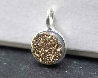 Sterling Silver Gold Druzy Round Charm 12mm (CG8336)