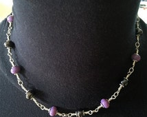 Summer Sale Lamp Work and Silver Choker Purple and Metalic Glass by Kate Drew-Wilkinson