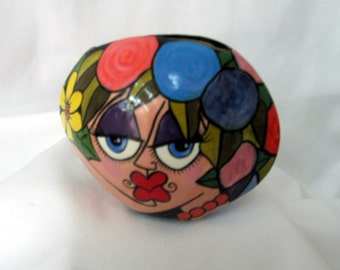 Small Oval Ceramic Pillow VASE Picasso Style Lady's Face, Primary Colored Rainbow of Impressionistic Flowers on Etsy