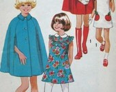1970s USED Simplicity pattern 9899 girls childs size 12 cape with detachable hood and dress pattern marked cut pieces