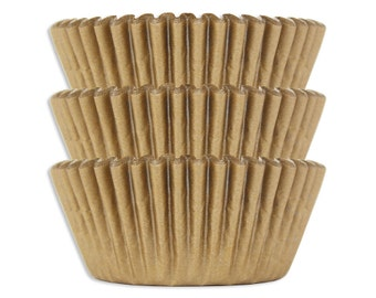 Solid Golden Shimmer Baking Cups - 50 solid gold paper cupcake liners
