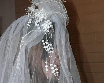 Cathedral Length Bridal Veil -12 foot Train -   VINTAGE -Floral Headband, Sequins, Pearls