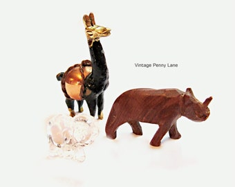 Mixed Lot Vintage Miniature Figurines / Figures, Alpaca, Rhino, Elephant