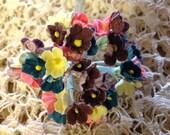 1 BOUQUET FLOWERS - Vintage  Millinery Flowers Forget Me Nots Multcolor Dark Rich Colors