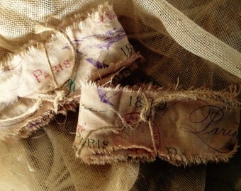 HAND STAMPED TRIM Tea Dyed 1889- French Ribbon - Eiffel Tower Postage Cancellation Stamp - French Script Paris Birds  Lots of French Writing
