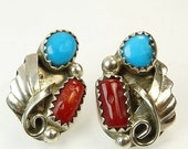 Vintage Navajo Coral Turquoise Earrings Southwestern Jewelry
