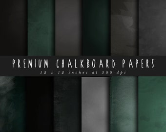 Chalkboard digital papers pack chalk board texture backgrounds 12 x 12 inch school blackboard black board black gray green commercial use