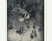 PRINT SALE 20% OFF Vintage 1930's The Grasshopper's Ball,  Black and White, Dancing Insects Bookplate Illustration Print for Framing Grassho