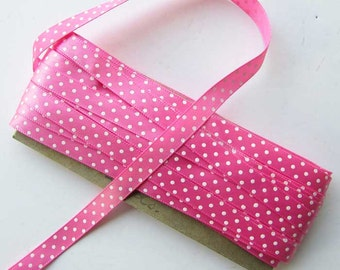 5 Foot Length of 1970's Vintage Pink with White Polka Dots Satin Ribbon, Trim, Creative Use, Vintage Ribbon
