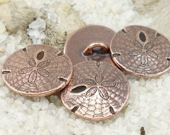 Antique Copper Sand Dollar Button Clasp Findings by TierraCast for Leather Jewelry Beach Bracelets (P1303)