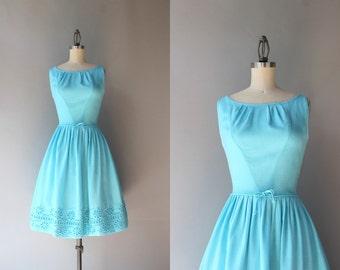 1960s Dress / Vintage 60s Linen Dress / 1950s Bow Belt Full Skirt Eyelet Sundress