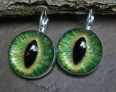 Gothic Steampunk Green Eye Lever Back Earrings in Silver Plate
