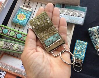 Hawaiiian handmade keychain hand-embellished with Swarovski crystals