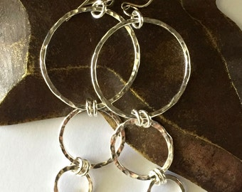 Hoop Earrings Large Sterling Silver Earrings Hammered Chunky Earrings