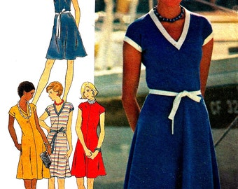 1970s Dress Pattern Fast Easy Butterick Flared Vintage Sewing For Knits Women's Misses Size 16 Bust 38 Inches