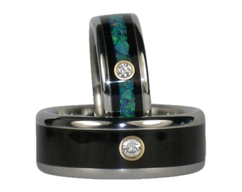 Black Wood and Opal Diamond Titanium Wedding Rings