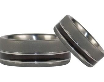 Milo Wood Titanium Ring Set with Matte Finish