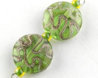 Round Shaped Silver Swirls on Green Backgorund Lampwork Glass Bead Pair by Chase Designs