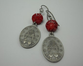 Miraculous Medal Earrings Made in Italy Carved Red Coral Flower Beads Virgin Mary Catholic Holy Medal Long Dangle Earrings Sacred Spirit