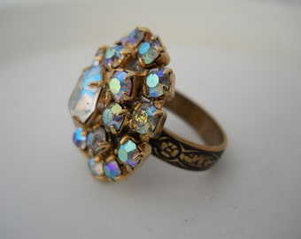 Ring Glass 1950's Era Rhinestone Part Repurposed Adjustable Ring Band Recycled Jewel Ring Bling