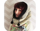 PDF crochet pattern - Giant cozy drawstring cowl hood - INSTANT DOWNLOAD