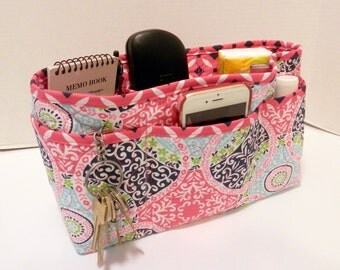 Quilted Purse Organizer Insert With Enclosed Bottom Large - Pink Print