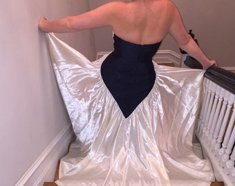 Stunning pinstripe deep sapphire blue strapless corset sweatheart bodice and bustline, cream colored Silk Charmuse gown