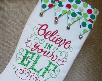 Embroidered Elf Stocking,  Elf Christmas Stocking, Embroidered Christmas Stocking, Christmas Stocking, Christmas