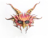 Horned Creature Leather Mask with Striped Horns Bright Colors imp satyr pan goat  seamonster wildman wildwoman crazy faerie