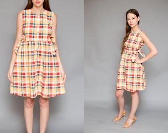 Vintage 70's PLAID Side Bow BABYDOLL Mini Dress // Prep Picnic Hipster Cotton Dress -  Size S M