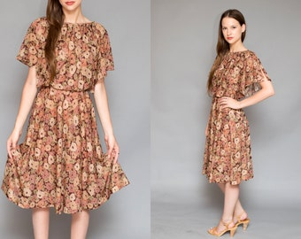 Vintage 70s Burgundy Brown Floral Print Sheer BOHEMIAN // Flowy Peasant Ruffle Dress - Size Small Medium