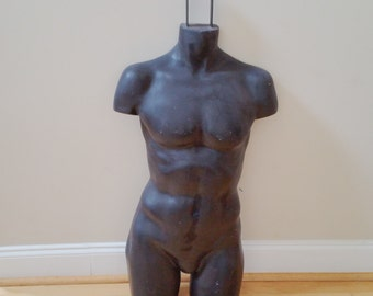 Vintage Black Wall Hanging Male Torso Mannequin Form Display