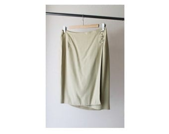 1990's Taupe Green Wrapped Skirt