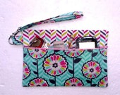 Turquoise Floral Clutch, Pink Chevron Wristlet, Makeup or Camera Holder, Phone or Gadget Bag, Front Zippered Womans Wallet, Small Purse