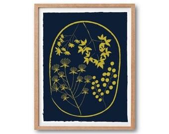 Floral Art Print - Royal Color - Flowers Pattern - Garden Art Kitchen Art Living room Decor