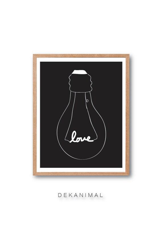 LoveLight Bulb - BLACK - Typography, Illustration, Love, Children Room Decor, Kids Room Decor, Wall Art, Home decor, Decorative art