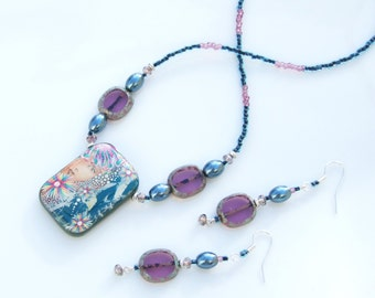 Blue Jewellery Set -  ARTIST BEAD 'My Angel' Polymer Clay Pendant Necklace & Earrings